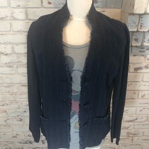 J.Jill Indigo Denim Frayed Collar Lapel Blazer 10
